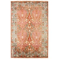 Hand-Knotted Padstow Border Indoor Wool Area Rug - 5' x 8'