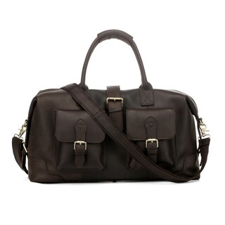 Vicenzo Leather Modesto Dark Brown Full Grain Leather Carry On Overnight Duffel Bag