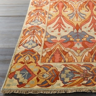 Hand-Knotted Penrith Border Indoor Wool Area Rug - 5' x 8'