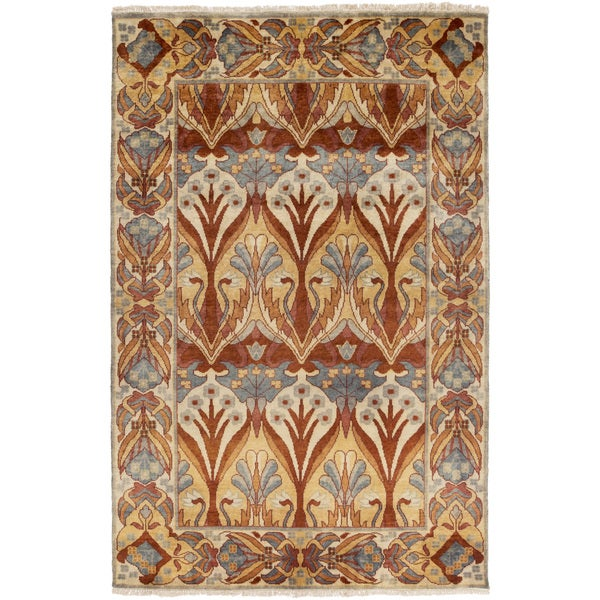 Hand-Knotted Penrith Border Indoor Wool Area Rug (5' X 8