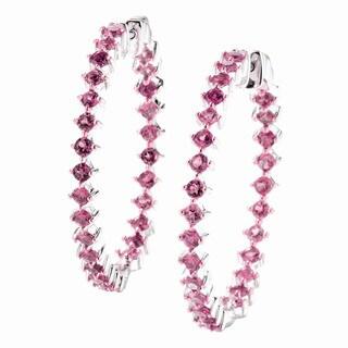 Sterling Silver Pink Tourmaline Inside-Out Hoop Earrings