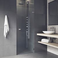 VIGO Tempo 28-inch Adjustable Frameless Shower Door with Clear Glass and Chrome Hardware