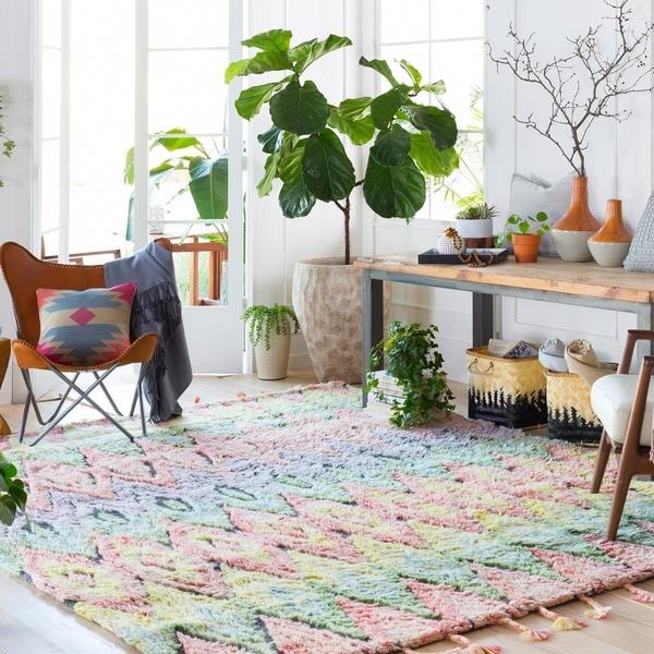 """Hand-Tufted Crawley Geometric Indoor Wool Area Rug - 5' x 7'6"""""""