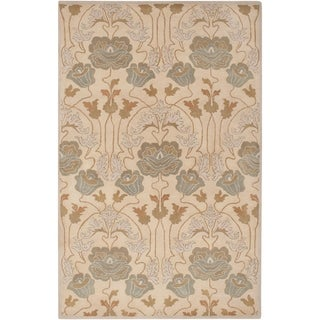 Hand-Tufted Mindy Floral New Zealand Wool Area Rug - 5' x 8'