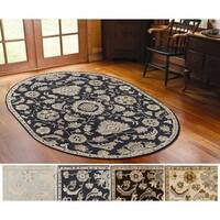 Hand-Tufted Wigton Floral Wool Area Rug - 6' x 9' Oval