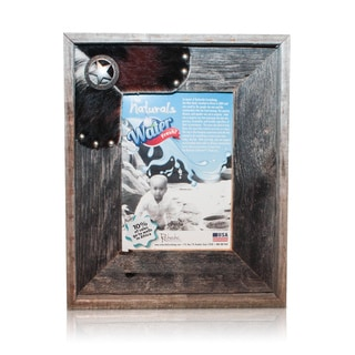 Natural Cowhide Fancy Sheriff Old Silver Star Reclaimed 5x7-inch Frame