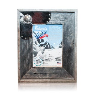 Natural Cowhide Decorative Old Silver Star Reclaimed 5x7-inch Frame