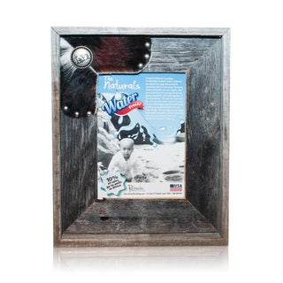 Natural Cowhide Cowboy Cross Old Silver Reclaimed 5x7-inch Frame
