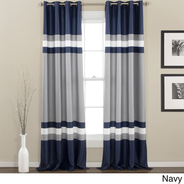 lush decor alexander stripe room darkening window panel pair