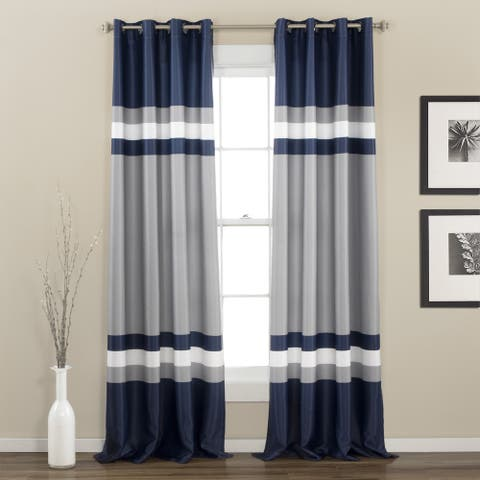 "Lush Decor Alexander Stripe Room Darkening Curtain Panel Pair - 52""W x 84""L"