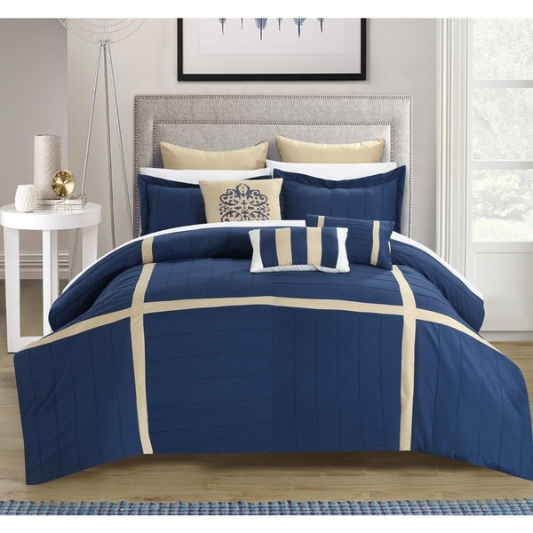 Chic Home 8-piece Helena Pleated Oversized Comforter Set