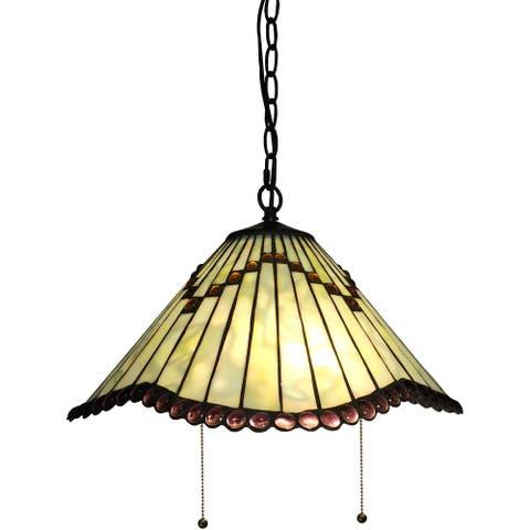 Ahlai 2-light Light Green Tiffany-style 16-inch Hanging Lamp