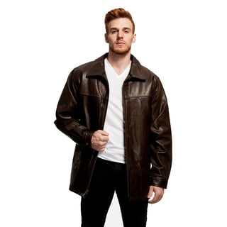 Men's Big and Tall Open Bottom Leather Jacket