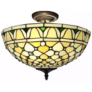Alvira 2-light Tiffany-style Off-white 16-inch Ceiling Lamp
