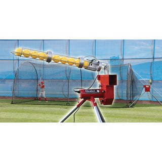 Heater Baseball Pitching Machine With Auto Ball Feeder & Xtender 24' L x 12' W x 12' H' Batting Cage / Model HTRBB699