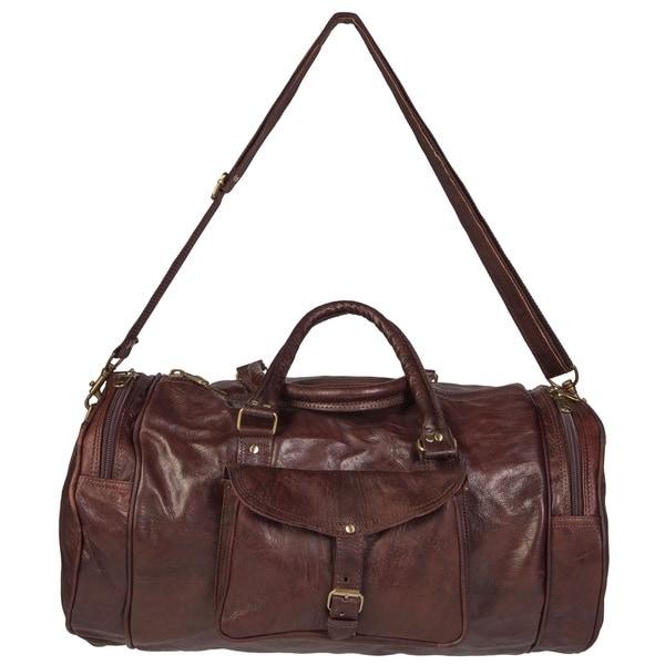 Shop Handmade Round Moroccan Leather Duffel Bag (Morocco) - M - Free ... cfcbd48b7d3d6