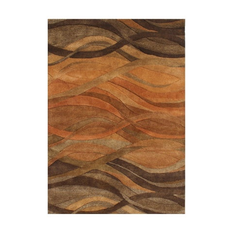 Handmade Abstract Brown Wool Rug - 5' x 8'