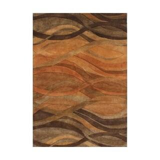 Handmade Abstract Brown Wool Rug - 5' x 8'