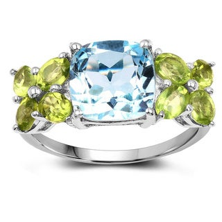 Olivia Leone Sterling Silver 5 1/4ct Genuine Blue Topaz and Peridot Ring