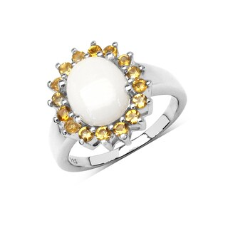 Olivia Leone Sterling Silver 2 1/2ct Genuine Opal and Citrine Ring