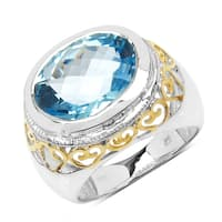 Olivia Leone Sterling Silver 8 3/4ct Genuine Blue Topaz Ring
