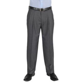 Dockers Essentials Men's Cross Hatch Pleated Straight Fit Med Grey Pant