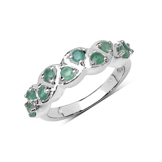 Malaika Sterling Silver 3/4ct Genuine Emerald Ring