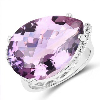 Olivia Leone Sterling Silver 14 2/5ct Genuine Amethyst Ring