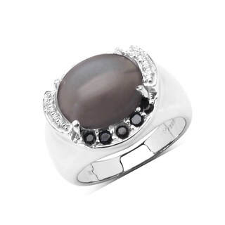 Malaika Sterling Silver 5 3/4ct Genuine Grey Moonstone and Black Spinel Ring