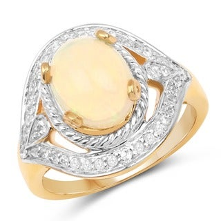 Olivia Leone 14k Yellow Goldplated Sterling Silver 2ct Genuine Ethiopian Opal and White Topaz Ring