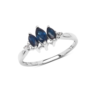 Olivia Leone Sterling Silver 3/4ct Genuine Blue Sapphire and White Topaz Ring