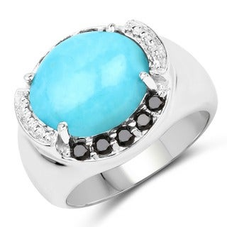 Olivia Leone Sterling Silver 4 5/8ct Genuine Turquoise and Black Spinel Ring