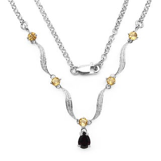 Olivia Leone Sterling Silver 1 3/4ct Garnet and Citrine Necklace