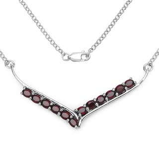 Olivia Leone Sterling Silver 5ct Garnet Necklace