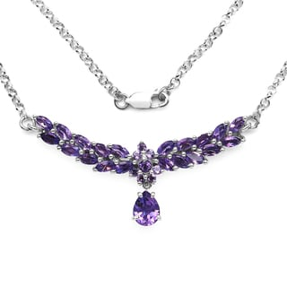 Olivia Leone Sterling Silver 4 3/8ct Amethyst Necklace