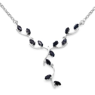 Olivia Leone Sterling Silver 2 2/5ct Sapphire Necklace