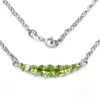 Olivia Leone Sterling Silver 2ct Genuine Peridot and White Topaz Necklace