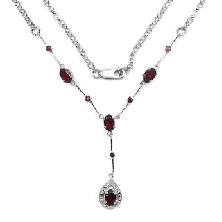 Olivia Leone Sterling Silver 2 7/8ct Garnet and White Topaz Necklace