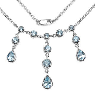 Olivia Leone Sterling Silver 4 1/2ct Blue Topaz Necklace