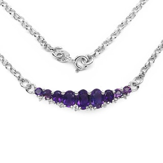 Olivia Leone Sterling Silver 2ct Genuine Amethyst and White Topaz Necklace