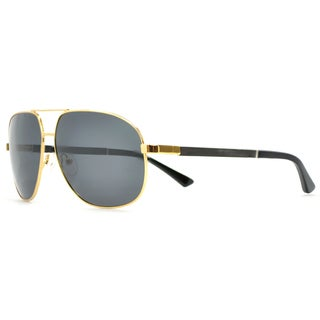 Tmbr. Men's Ace Gold Frame/Grey Lens Aviator 62mm Polarized Wood Sunglasses - L