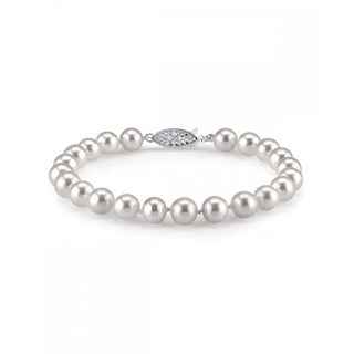 Radiance Pearl 14k Gold AAA-quality White Freshwater Pearl Bracelet (7-8mm)