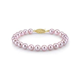 Radiance Pearl 14k Gold AAA-quality Pink Freshwater Pearl Bracelet (9-10mm)