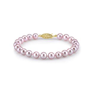 Radiance Pearl 14k Gold AAA-quality Pink Freshwater Pearl Bracelet (8-9mm)