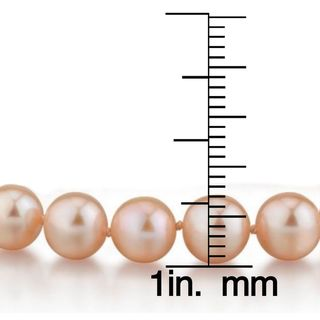 Radiance Pearl 14k Gold AAA-quality Peach Freshwater Pearl Bracelet (7-8mm)