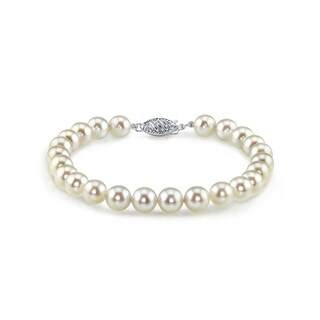Radiance Pearl 14k Gold AAA-quality White Akoya Pearl Bracelet (6.5-7mm)