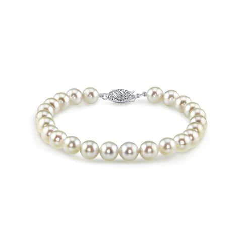 Radiance Pearl 14k Gold AAA-quality White Akoya Pearl Bracelet (6.5-7mm)