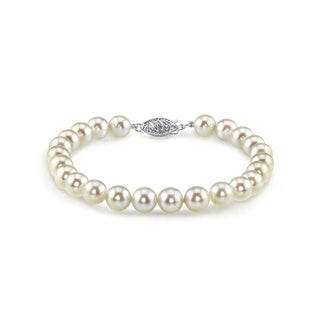 Radiance Pearl 14k Gold AAA-quality White Akoya Pearl Bracelet (7-7.5mm)
