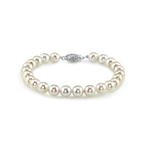 Radiance Pearl 14k Gold AAA-quality White Akoya Pearl Bracelet (7-7.5mm)