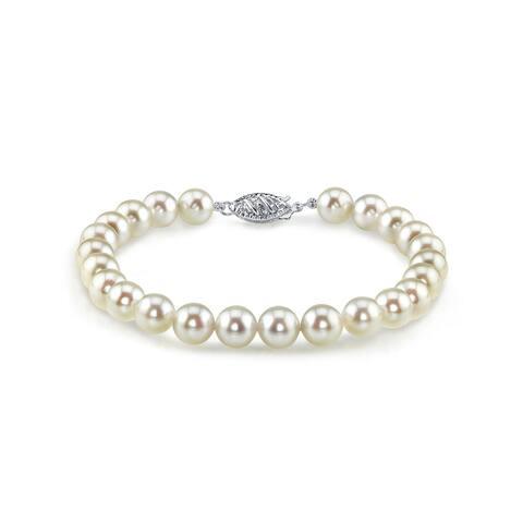 Radiance Pearl 14k Gold AAA-quality White Akoya Pearl Bracelet (8.5-9mm)